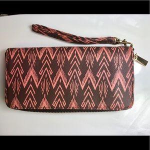 Handbags - Brown and salmon colored wallet wristlet